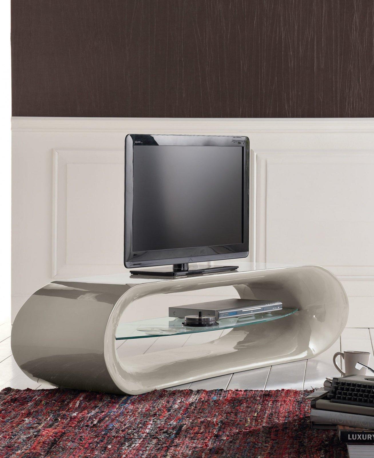 Porta Tv Moderno Laccato Grigio con Ripiano Vetro