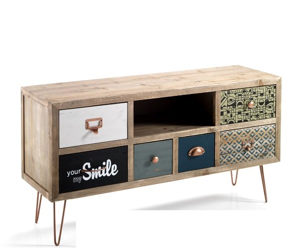 Porta tv vintage 6 cassetti colorati in legno massello di abete - Ruote per mobili vintage ...