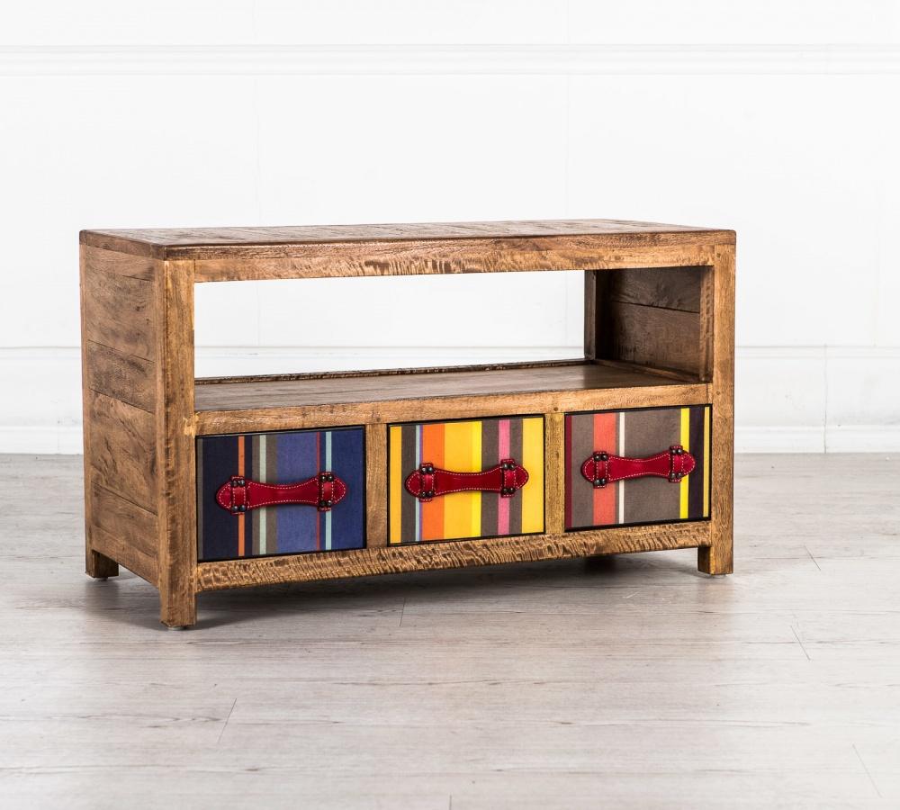 Porta tv in legno massello con cassetti colorati for Mobili vintage colorati