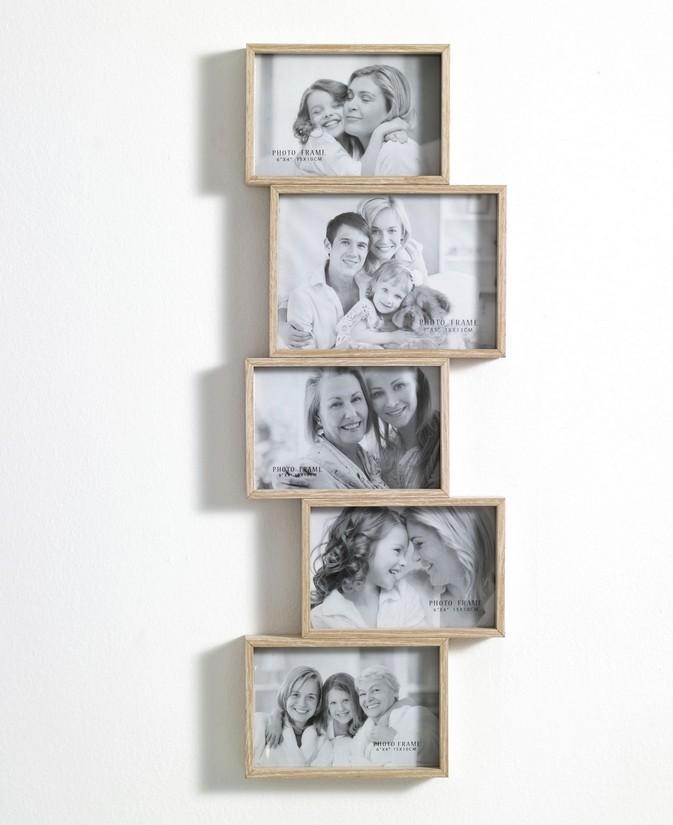 Portafoto da muro in legno contiene 5 foto - Portafoto multipli da parete ...