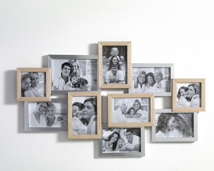 Portafoto da muro in legno massello bicolor - Portafoto multipli da parete ...