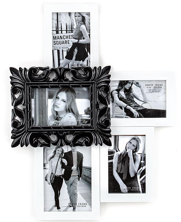 Portafoto da parete moderno in legno bianco e nero - Portafoto da parete ikea ...