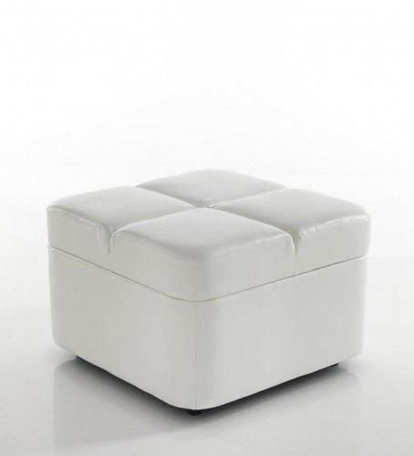 Pouf contenitore trapuntato pelle ecologica bianca - Pouf letto economico ...