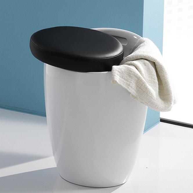 Pouf Tondo Contenitore.Pouf Contenitore In Pvc Bianco Con Cuscino Nero