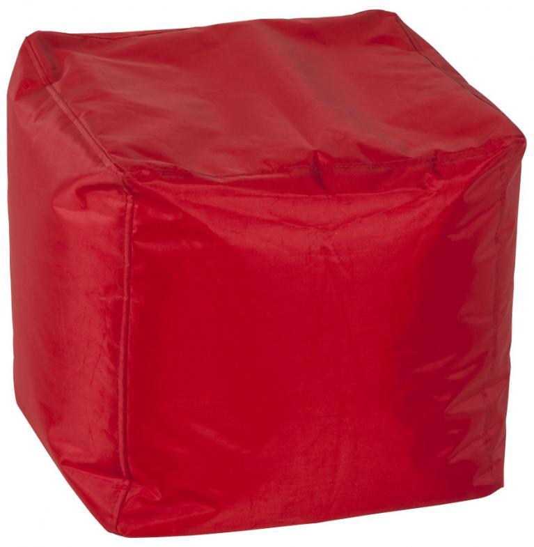 pouf arredo soffice in pvc rosso e polistirolo