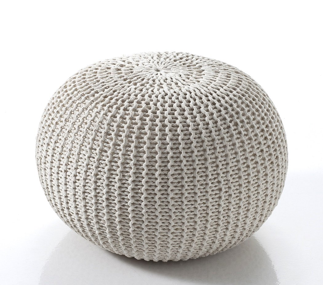 Pouf In Cotone Effetto Maglia pouf da salotto o attività in cotone panna
