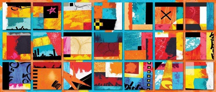 3 quadri moderni stampe colorate casette for Stampe astratte su tela