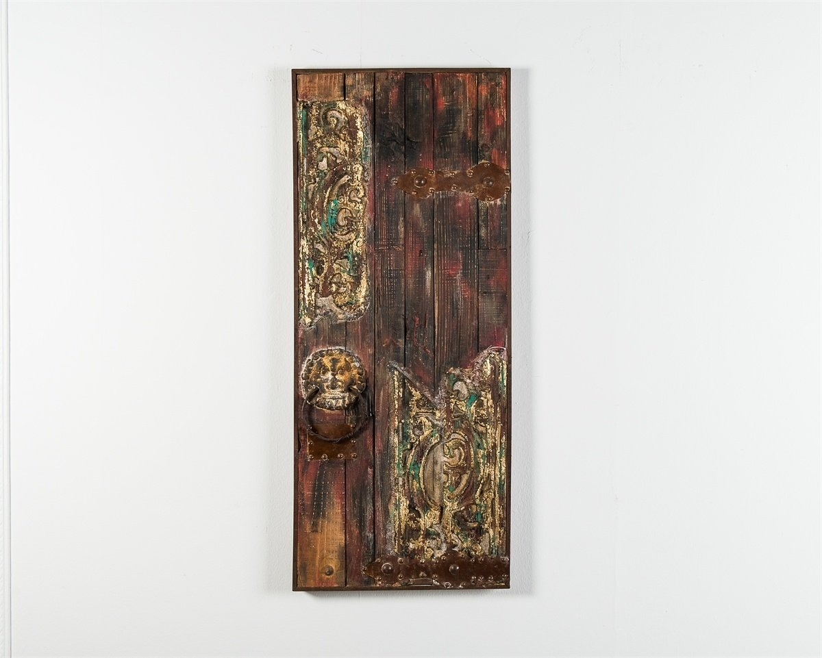 Quadro vintage dipinto ad olio su legno con inserti