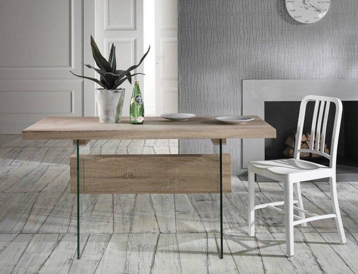Scrivania tavolo da lavoro in legno e vetro for Tavolo scrivania