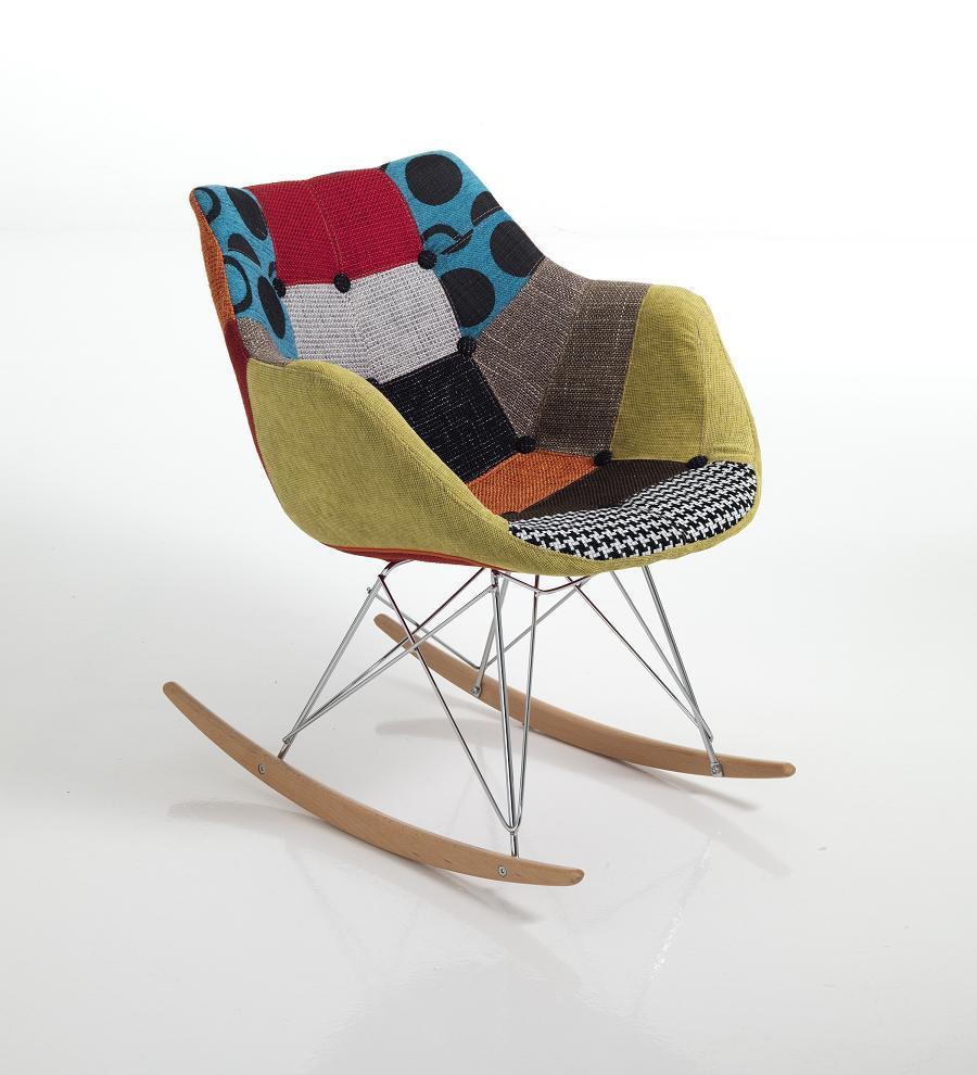 Sedia poltrona a dondolo moderna patchwork tessuto ebay - Sedia camera da letto ...