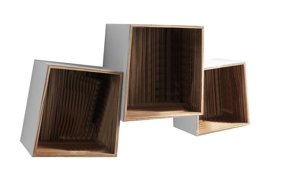 Set 3 mensole cubi da muro in legno laccato for Cubi mensole