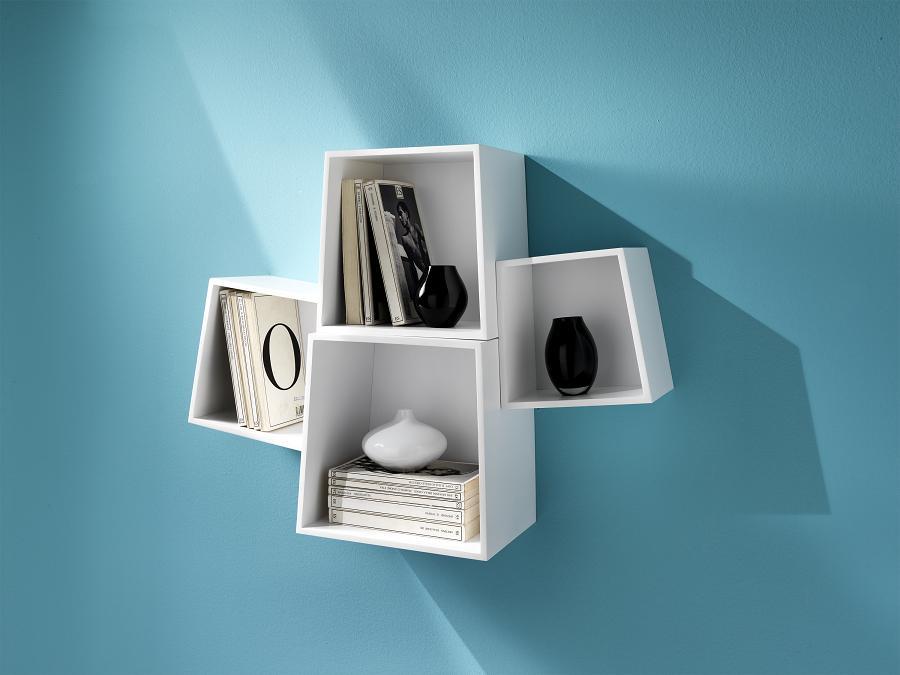 Set mensole cubi da muro laccato bianco