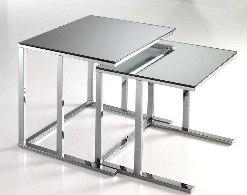 Set Di 2 Tavolini Da Salotto Quadrati A Specchio