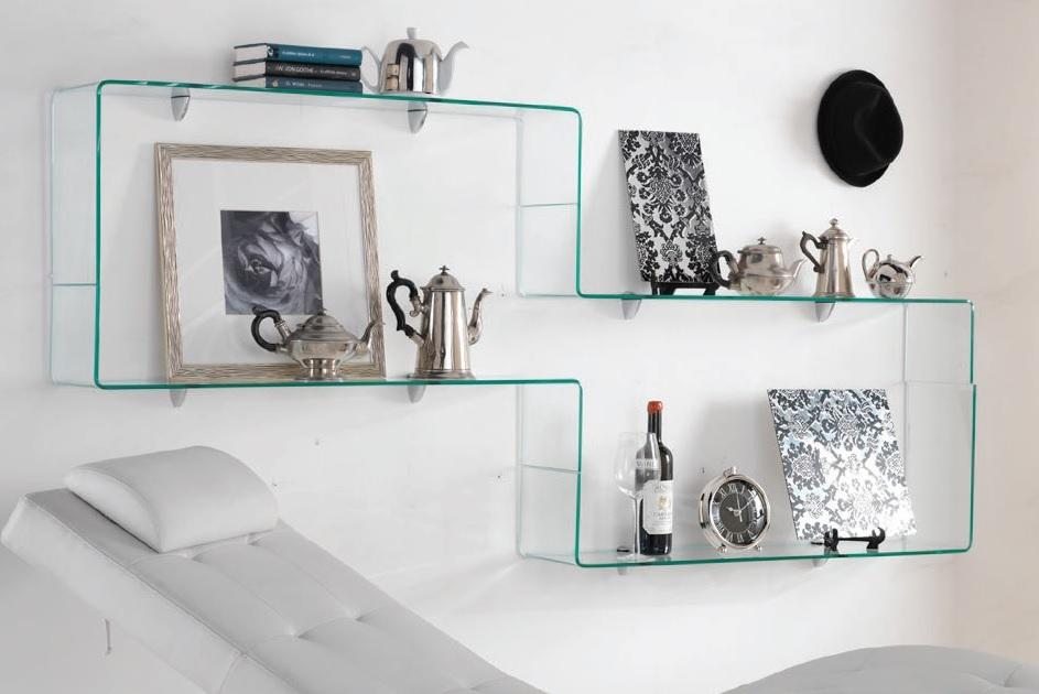 Mensola da muro in vetro trasparente 100 cm for Mensole da muro