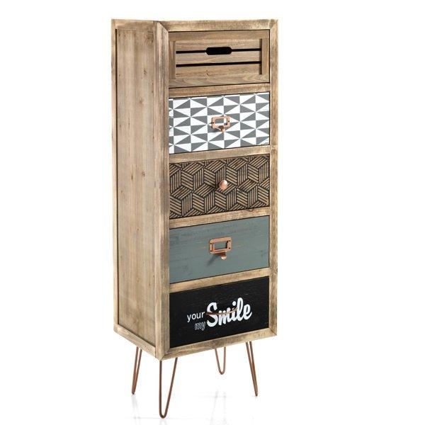 cassettiera vintage 4 cassetti colorati in legno con ruote. Black Bedroom Furniture Sets. Home Design Ideas
