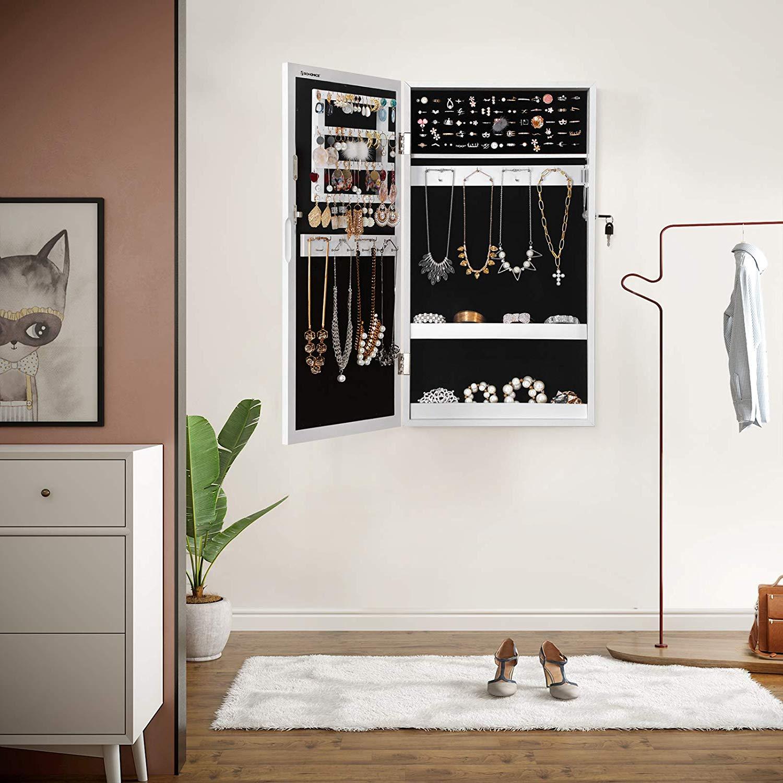 Porta Orecchini Da Parete specchiera contenitore da parete porta gioielli con chiave
