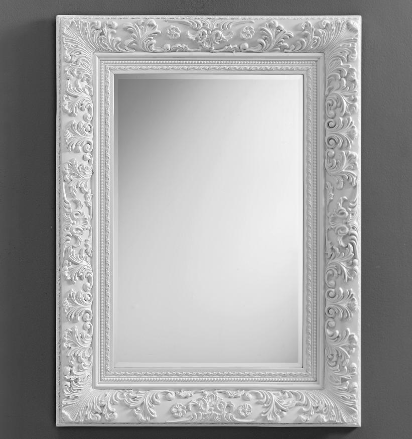 Specchio da parete con cornice semplice moderno - Specchio bianco ...
