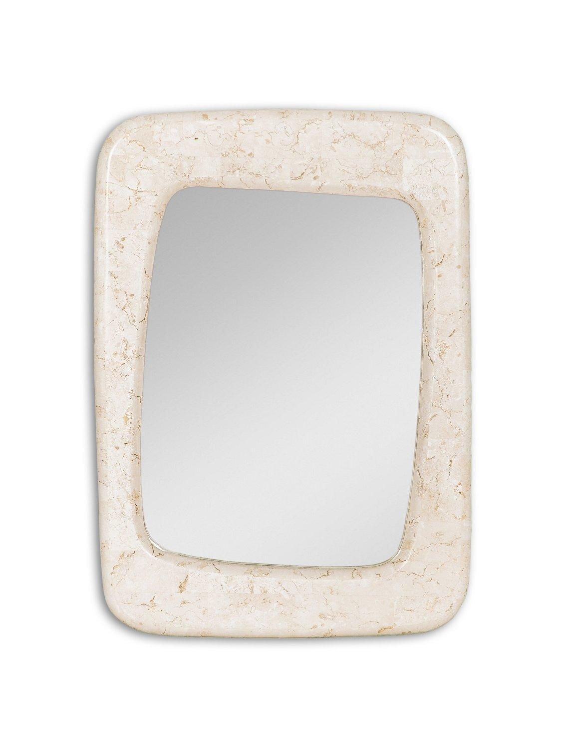 Specchio Rettangolare con Cornice in Pietra Fossile Bianco Agata