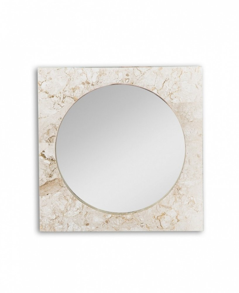 Specchio Quadrato con Cornice Tonda in Pietra Fossile Gray