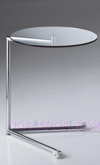 Tavolino Comodino con Ruote in Vetro e Metallo