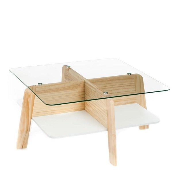 Tavolino Quadrato in Vetro e Legno Portaoggetti