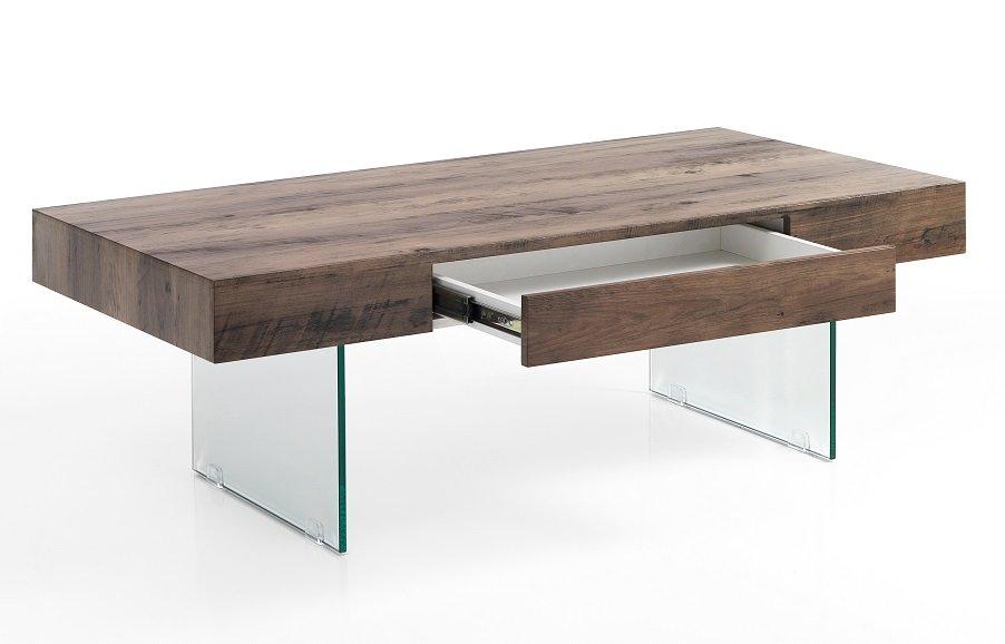 Tavolino Rettangolare in Vetro e Legno con Cassetto