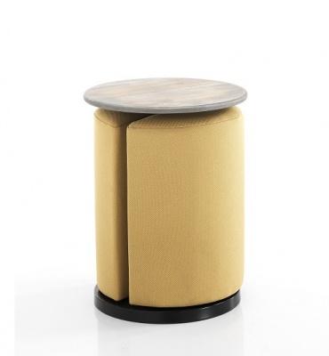 Tavolino con Sgabello/pouf Richiudibile Giallo