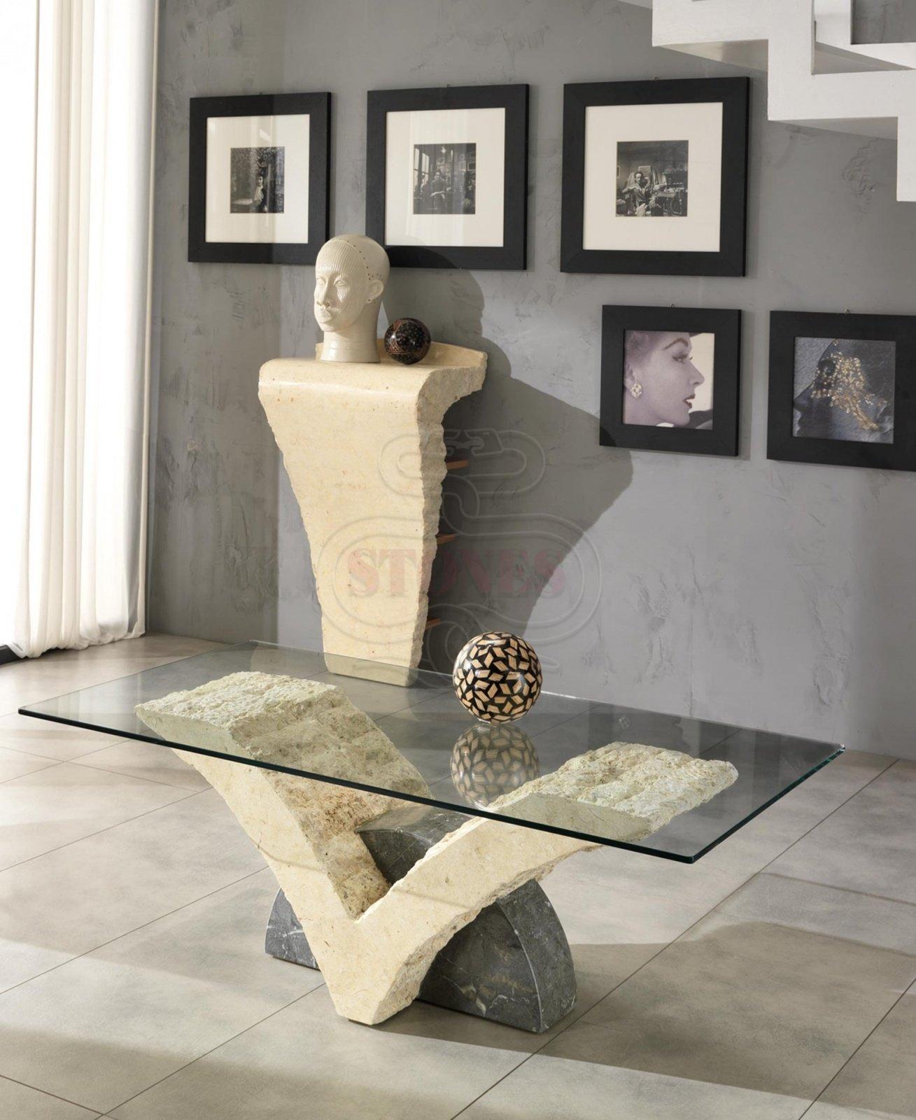 Tavolini Da Salotto In Pietra E Vetro.Tavolino Da Salotto In Pietra Fossile E Vetro Bicolore