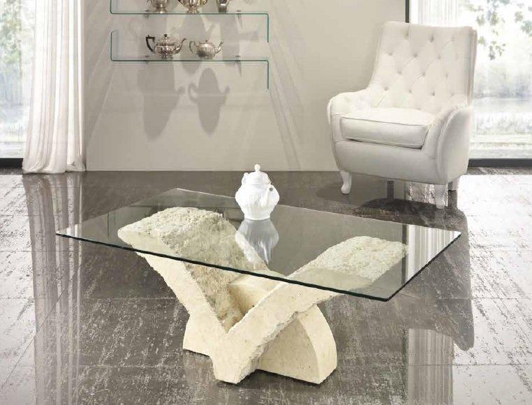 Tavolino da Salotto in Pietra Fossile e Vetro