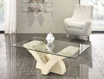 Tavoli In Pietra E Cristallo.Tavolino Da Salotto In Pietra Fossile E Vetro