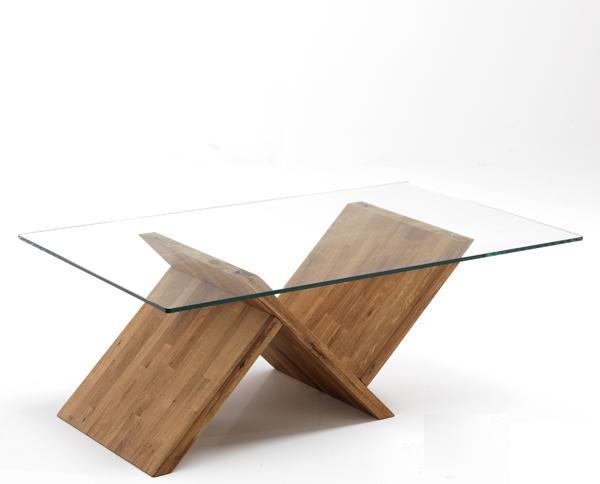 tavolino da salotto in vetro e piede in legno
