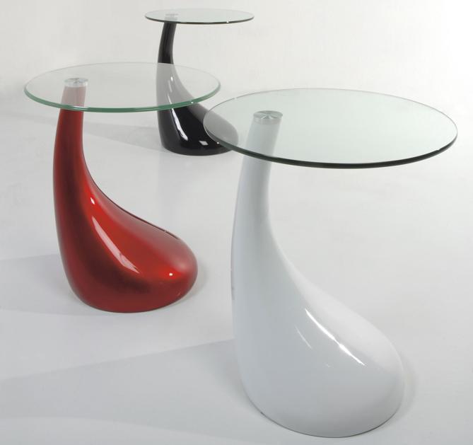 Tavolino o Comodino Rotondo in Resina e Vetro