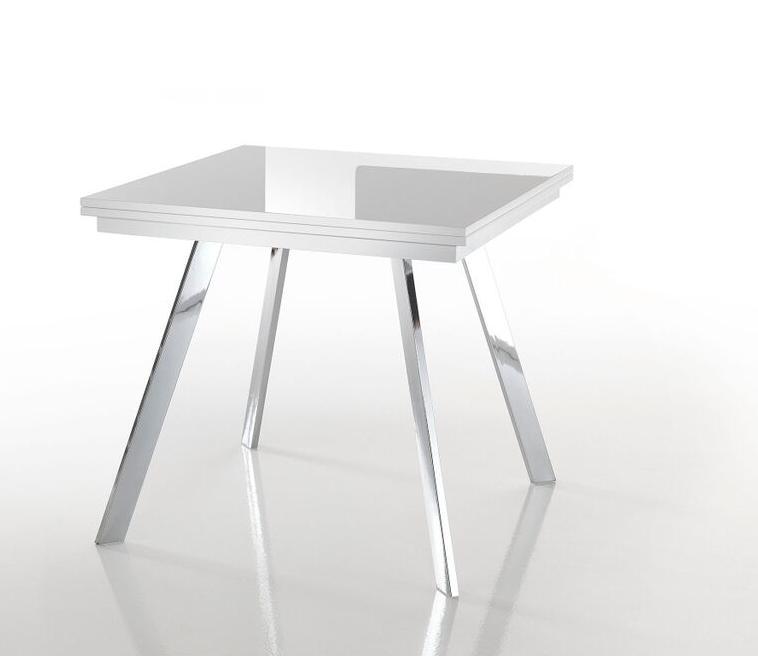 Tavolo moderno a v in pietra fossile e vetro for Tavolo quadrato allungabile vetro