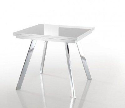 Consolle mobile ingresso toeletta fissa in legno e vetro for Tavolo quadrato allungabile vetro