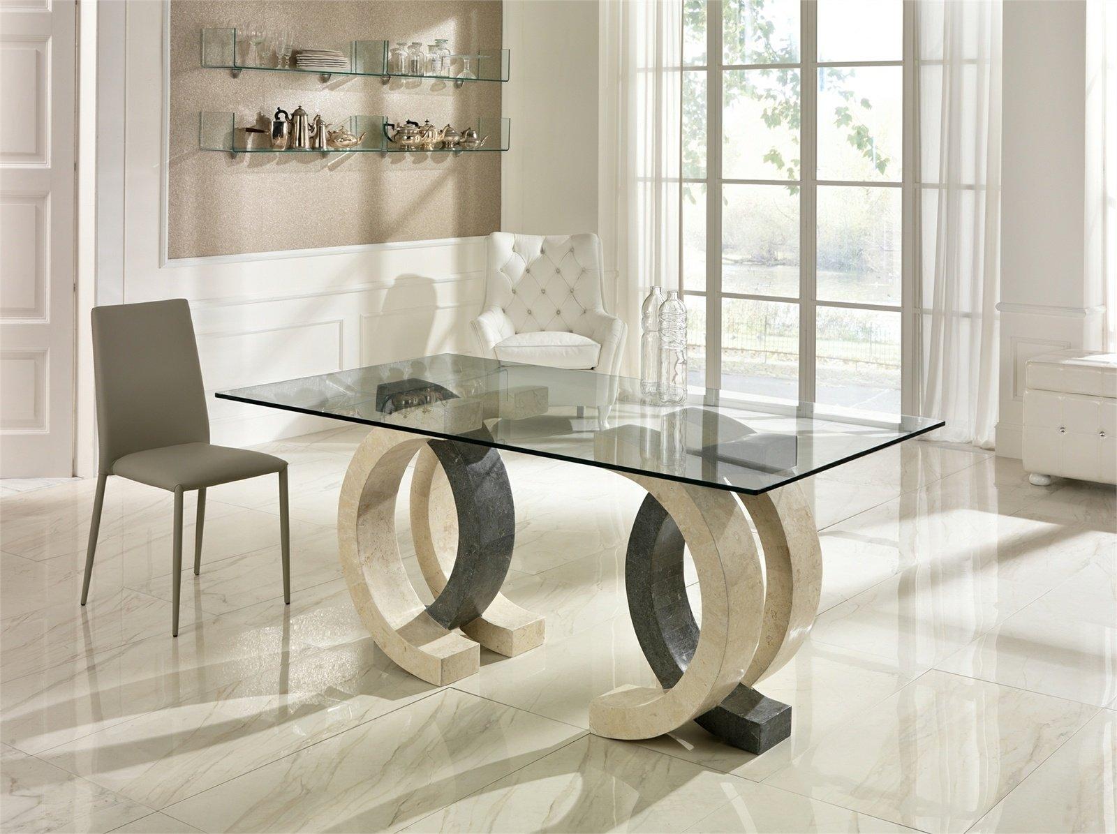 Tavolo Elegante in Pietra Fossile Bicolore