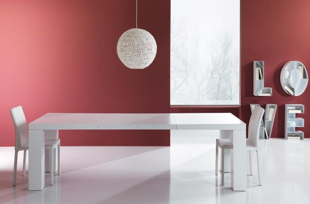 Tavolo moderno a v in pietra fossile e vetro for Tavolo rotondo bianco moderno