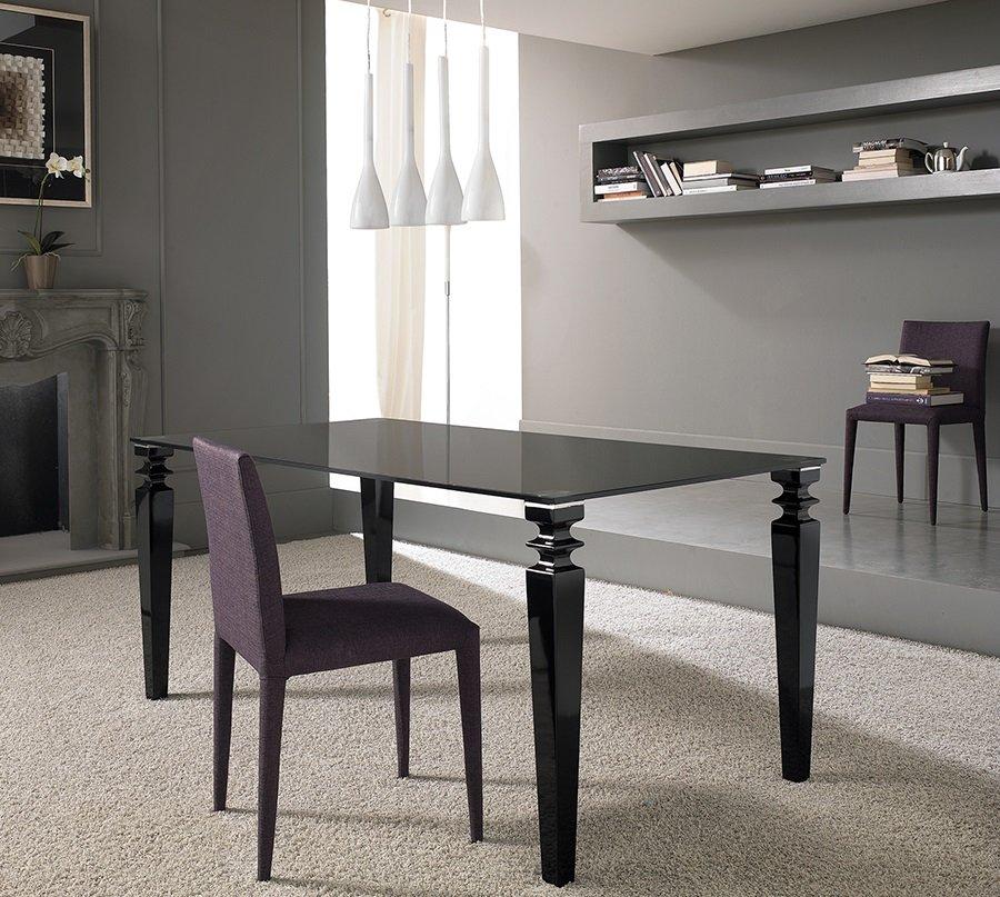 Tavolo moderno fisso con piana in vetro nero - Tavolo in vetro nero ...