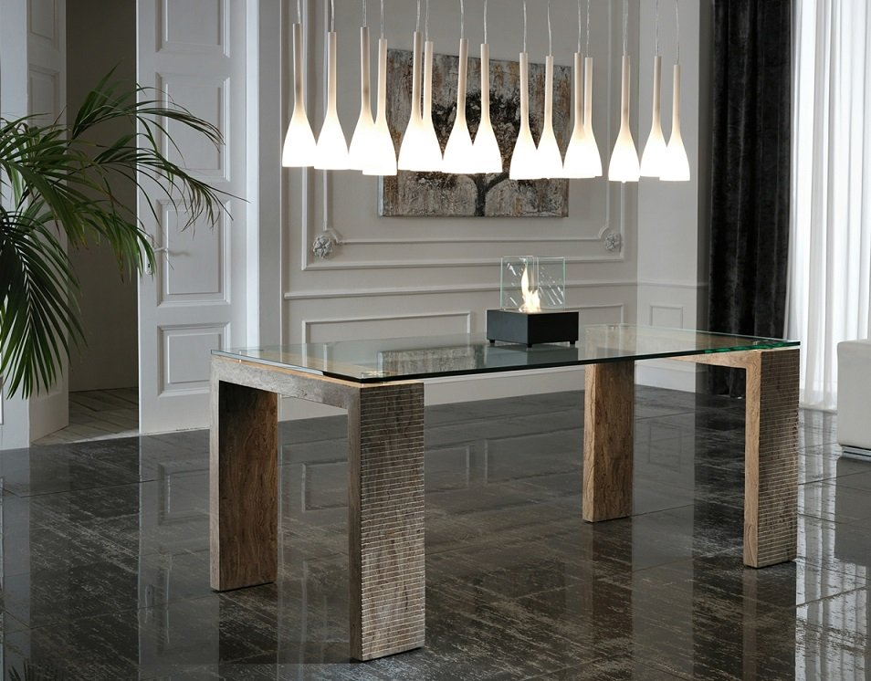 Tavolo moderno rigato in pietra color legno 2 misure for Tavolo legno moderno