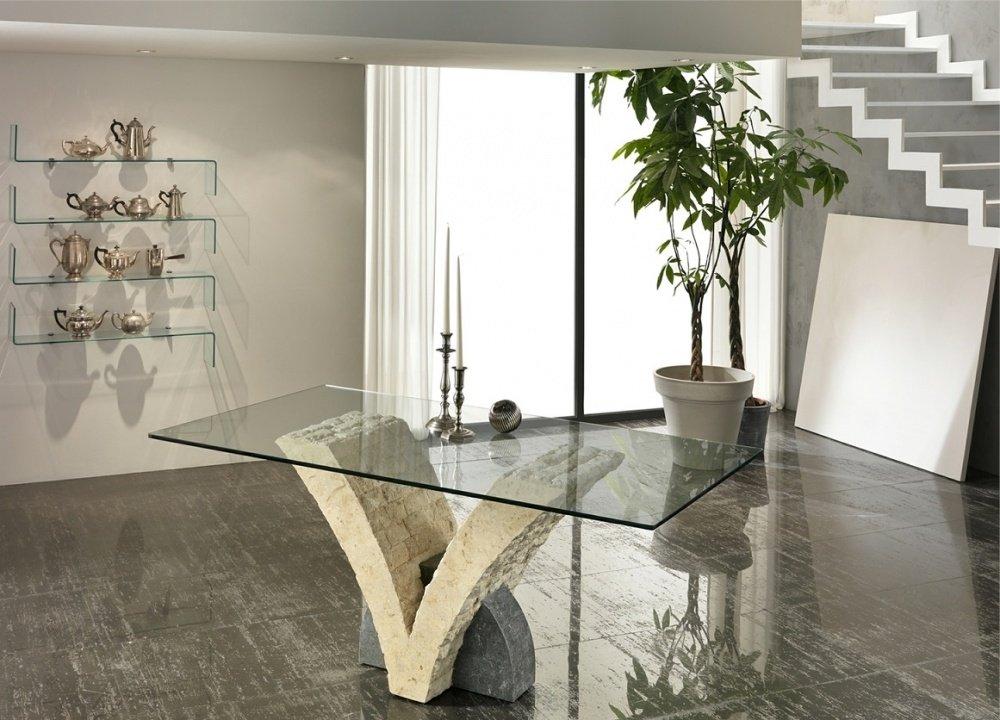 Consolle mobile ingresso toeletta fissa in legno e vetro for Tavolo moderno in legno