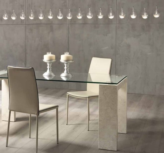 Tavolo moderno in pietra fossile bianco agata e vetro - Runner da tavolo moderno ...