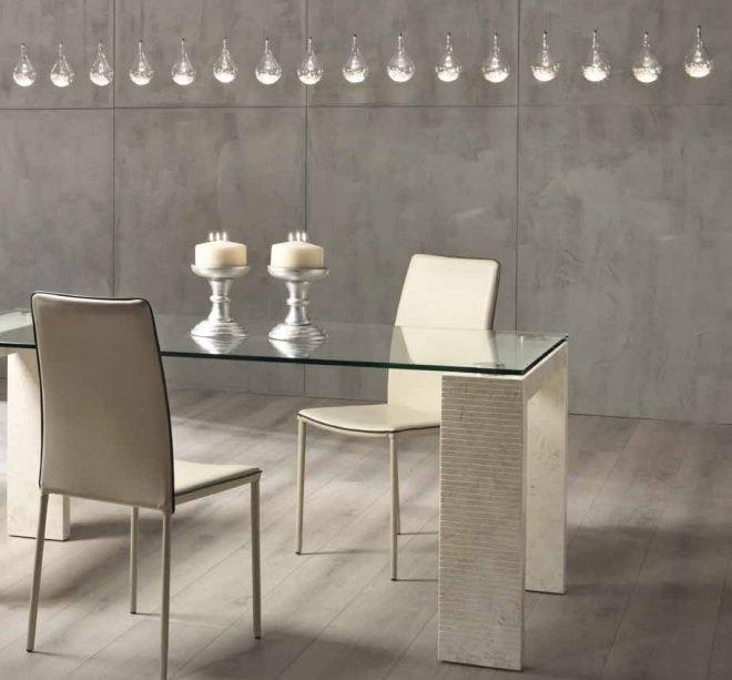 Tavolo Moderno in Pietra Fossile Bianco Agata e Vetro