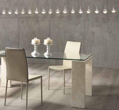 Tavolo moderno in pietra fossile bianco agata e vetro - Tavolo vetro temperato opinioni ...