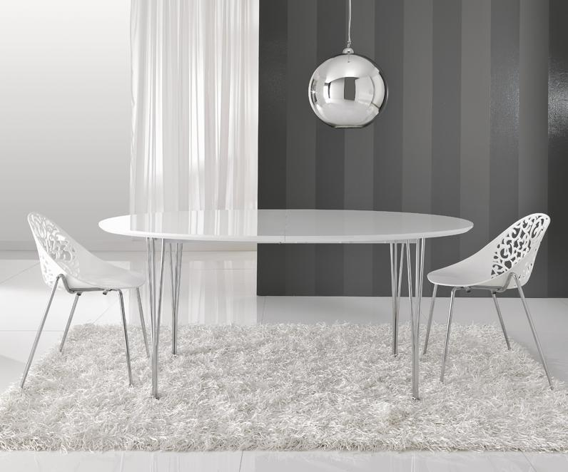 Tavolo ovale ellittico allungabile moderno bianco - Tavolo rotondo bianco allungabile ...