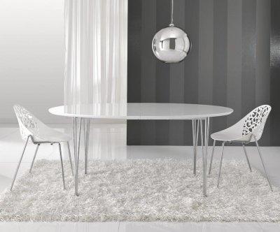 Tavolo rotondo con zampe incrociate in legno - Tavolo ellittico ...