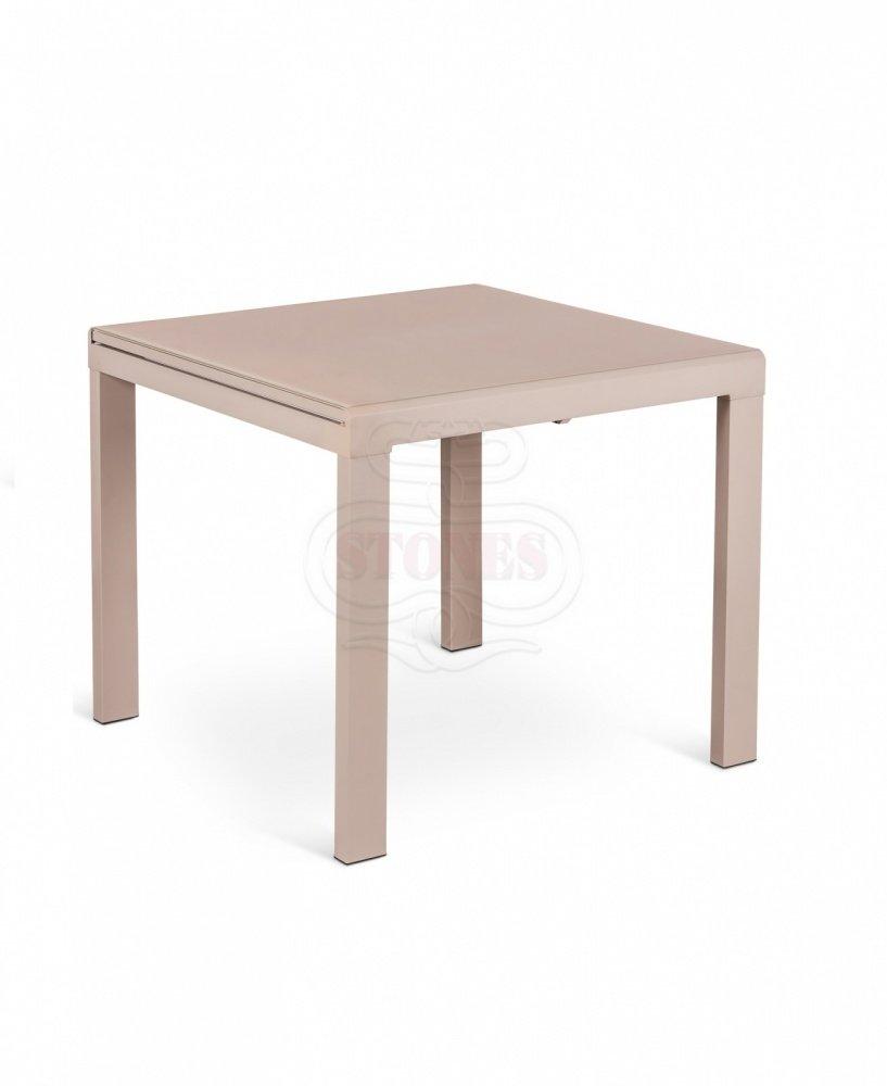 Tavolo moderno rigato in pietra color legno 2 misure for Tavolo quadrato allungabile vetro