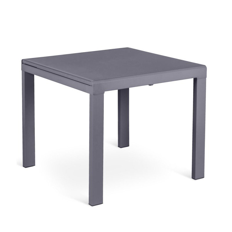 tavolo quadrato allungabile in vetro grigio