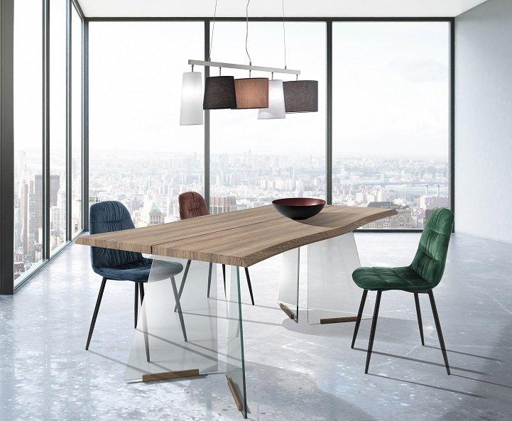 Tavolo da Pranzo Fisso con Gambe in Vetro e Piana Rovere