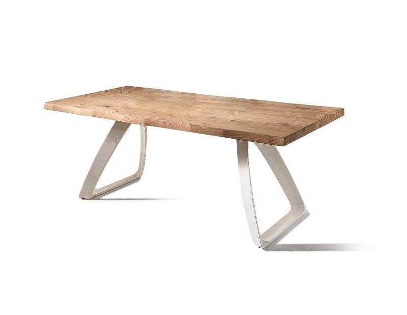 Tavolo da Pranzo Fisso in Legno e Base Bianca