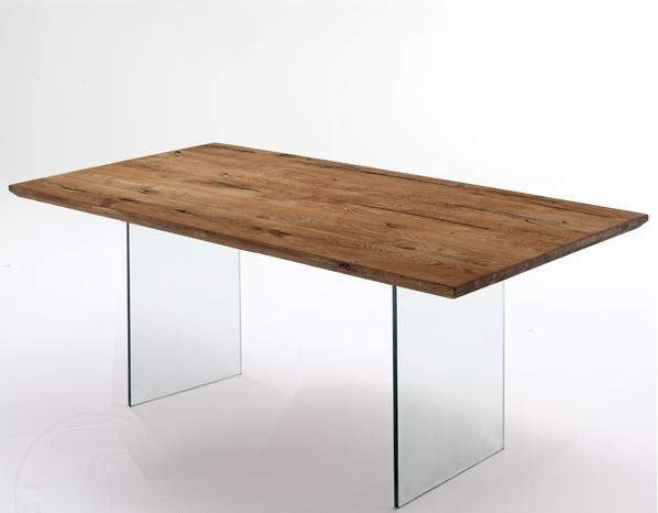 Tavolo da Pranzo Rettangolare in Legno e Vetro
