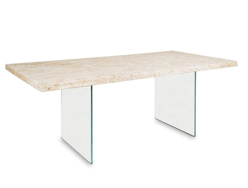 Tavolo da Pranzo Rettangolare in Pietra Fossile e Vetro